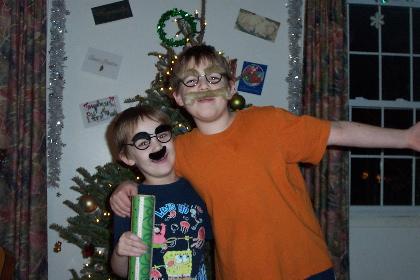 my kids, wearing disguises