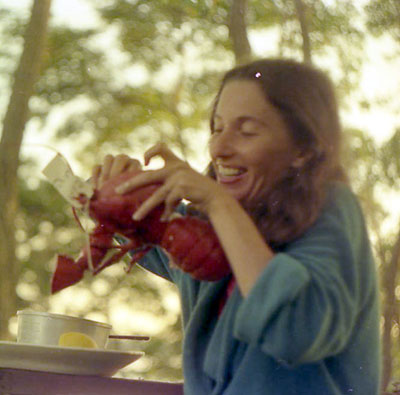 Mom eating lobster, 1975