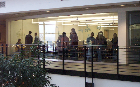Students Doing Sticky Note Exercise - View From Outside Lab
