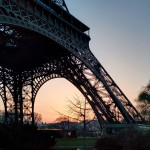 Base of Eiffel Tower at Sunset