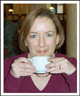 Liz sipping melange at Cafe Central in Vienna